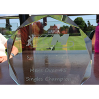 The winning trophy for the men's over 45's